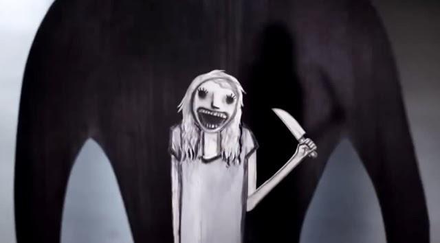 weiße Zeichentrickgestalt mit Messer in der Hand vor dunklem Schatten
