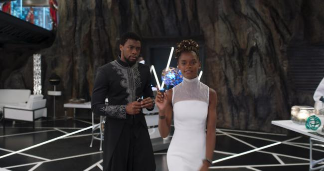 Chad Boswick & Letitia Wright in Black Panther