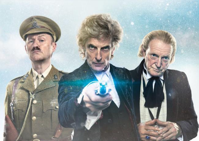 Mark Gatiss als Brigadier, Peter Capaldi als Twelve und David Bradley als erster Doctor