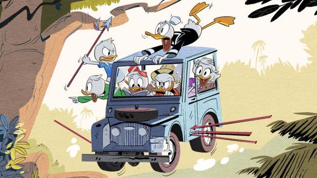 Dagobert, Donald und die Drillinge auf wilder Jeepsafari.