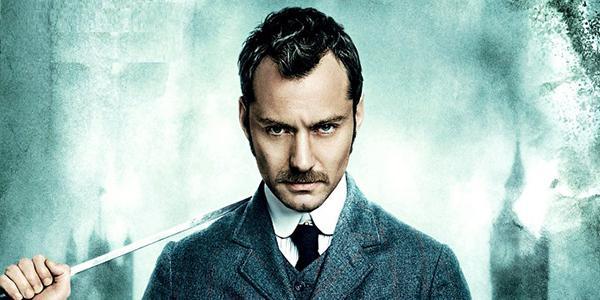 Jude Law auf dem Poster zu Sherlock Holmes