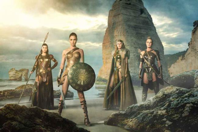 """LISA LOVEN KONGSLI as Menalippe, GAL GADOT as Diana, CONNIE NEILSEN as Hippolyta and ROBIN WRIGHT as Antiope in Warner Bros. Pictures' """"Wonder Woman,"""" a Warner Bros. Pictures release."""
