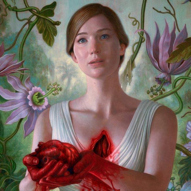 Jennifer Lawrence zeigt Herz auf Plakat zum Psycho-Horror Mother!