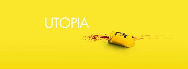 Utopia Schriftzug auf gelbem Grund mit blutbefleckter Handtasche