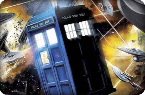 Doctor Who Tardis im Star Trek Weltraum