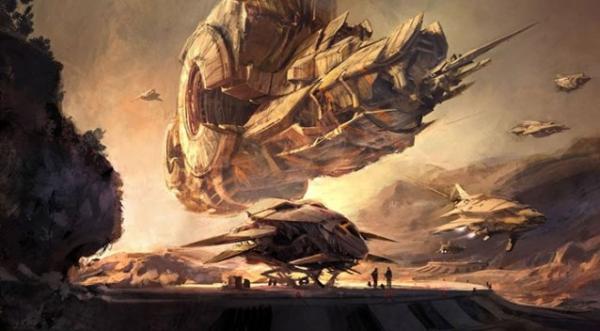 Raumschiff über außerirdischer Landschaft