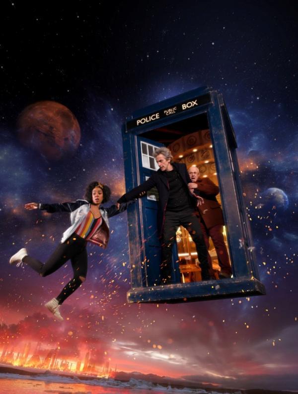 Bill, Twelve und Nardol auf dem Promobild zu Doctor Who Staffel 10
