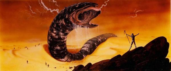 Riesiger Sandwurm erhebt sich aus der Wüste