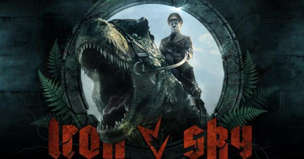 Nazi auf Dinosaurier, der aus Iron Sky Logo herauskommt
