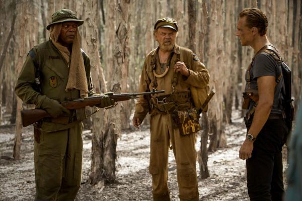 Samuel L. Jackson, John C. Reilly und Tom Hiddleston in Kong Skull Island