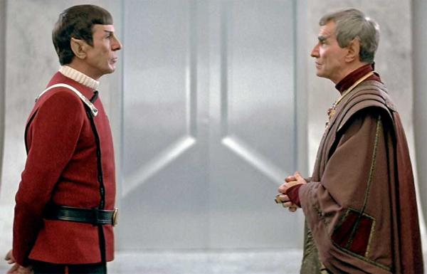 Star Trek IV: Sarek (Mark Lenard) und Spock (Leonard Nimoy)