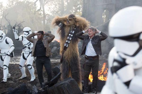 Finn (John Boyega), Chewbacca (Peter Mayhew), and Han Solo (Harrison Ford)