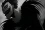 Billd in Grautönen von Ryuk aus der Death-Note-Animeserie