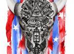 Poster zur Serie American Gods mit symbolischer US-Flagge und zahlreichen religiösen Symbolen