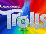 Glitzerndes Logo des Animationsfilms Trolls in Regenbogenfarben
